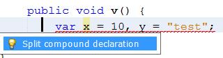 New Error hint to split compound 'var' declaration
