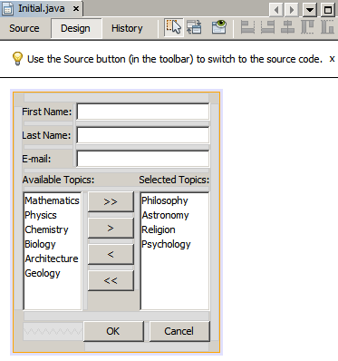 Gap Editing Support in the NetBeans GUI Builder